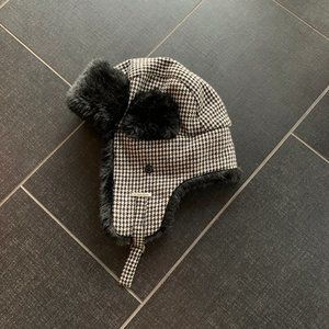 Calvin Klein Herringbone Faux Fur Trapper Hat